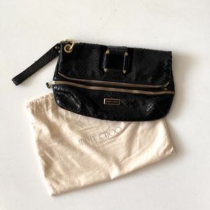 Jimmy Choo Alligator Suede Bronze Details Wristlet